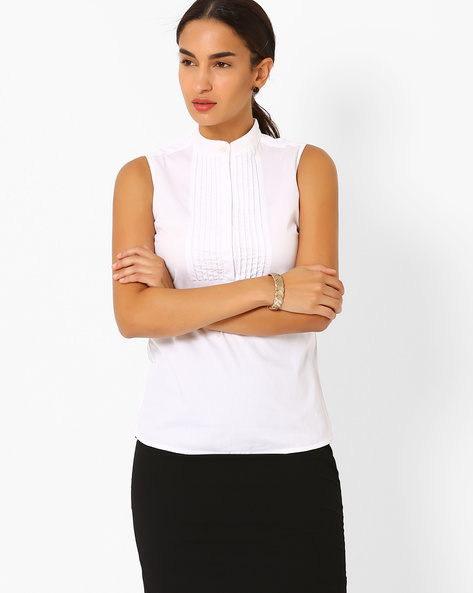 Sleeveless Shirt With Embellished Collar By AJIO ( White )