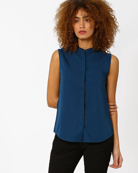 Sleeveless Shirt Top With Mandarin Collar By Annabelle By Pantaloons ( Aquablue )