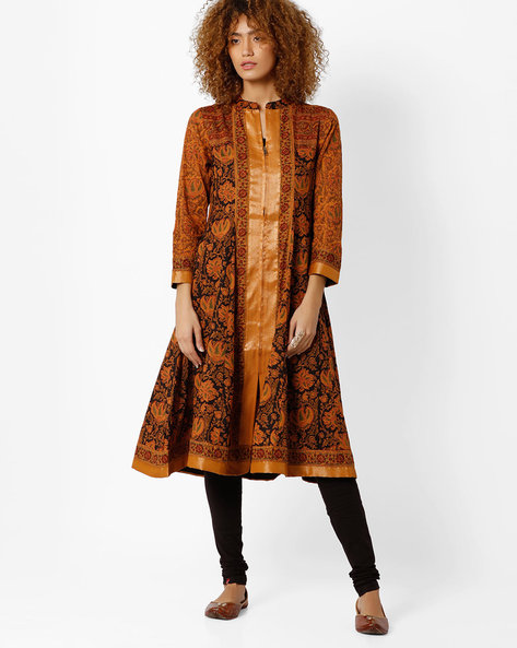 Printed Kalidar Churidar Kurta With Dupatta By Biba ( Mustard )