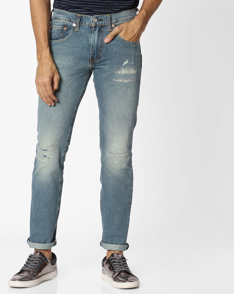 Skinny Fit Distressed Jeans By LEVIS ( Blue )