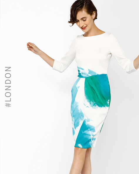 Bodycon Dress With Boat Neck By Closet London ( Multi )