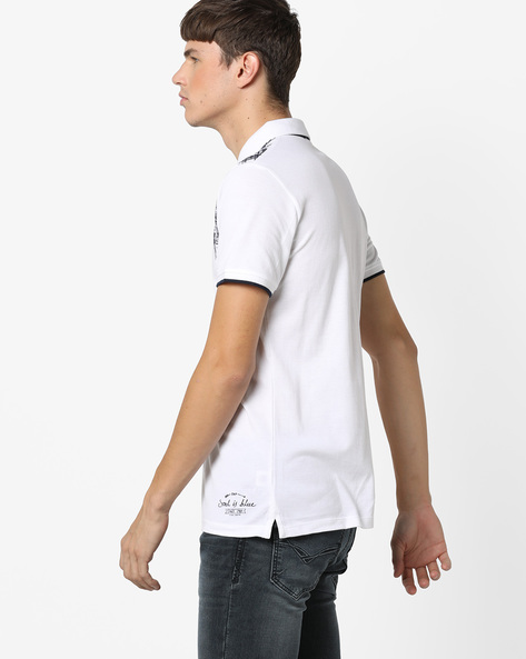 Printed Polo T-shirt By Killer ( White )