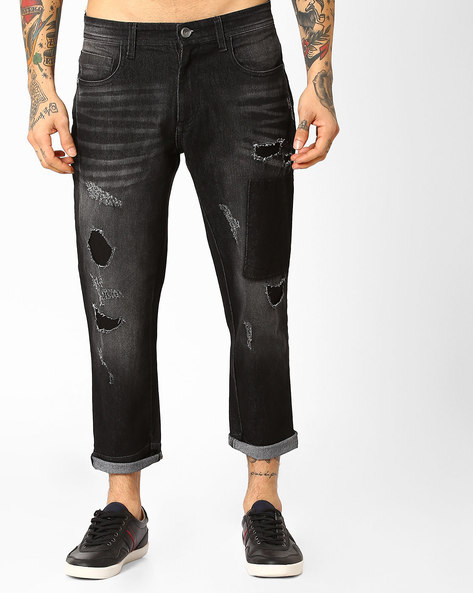 Distressed Crop Fit Jeans By ADAMO LONDON ( Black )