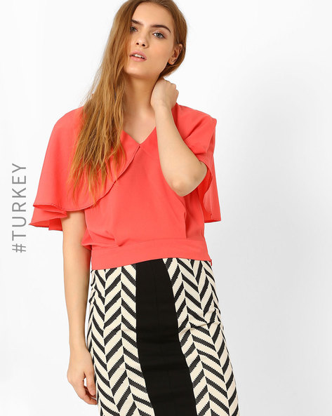 Crop Top With Cape Overlay By BATIK ( Coral )
