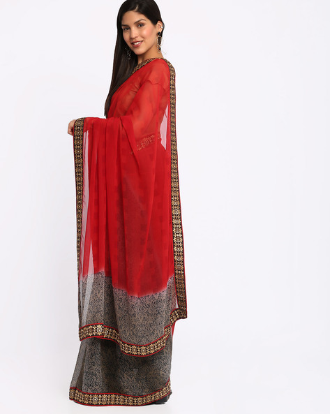 Embroidered Chiffon Saree By Viva N Diva ( Rust )