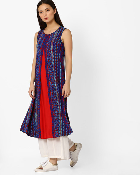 Sleeveless Printed Kurta With Overlay By FUSION ( Darkblue )