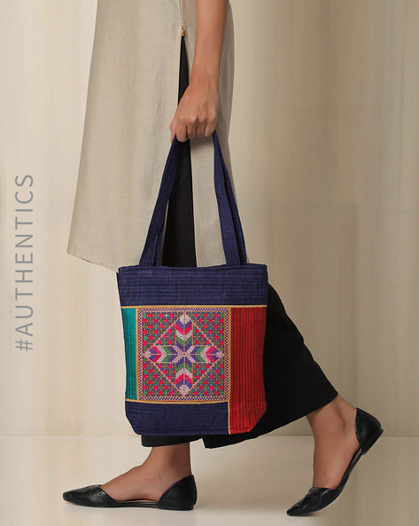 Kutch Jat Garasiya Hand Embroidery Tote Bag By Indie Picks ( Blue )