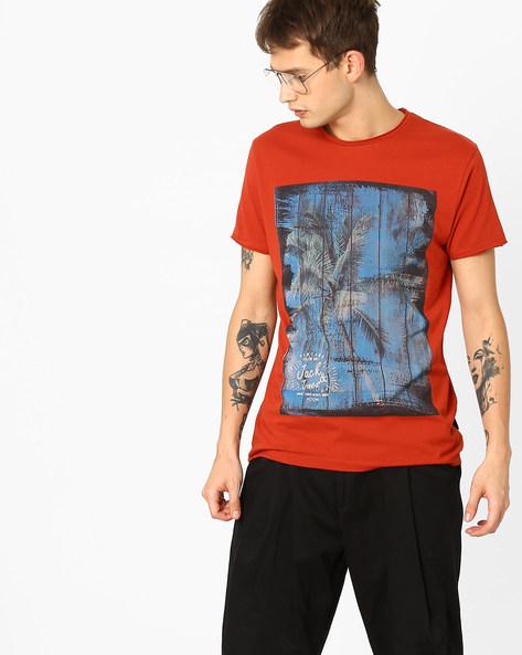 Slim Fit Printed T-shirt By Jack & Jones ( Red )