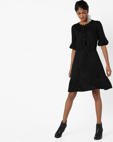 Shift Dress With Tasseled Tie-Ups By AJIO ( Black )