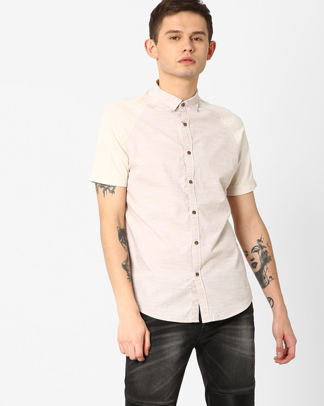 Slim Fit Shirt With Curved Hem By AJIO ( Beige )