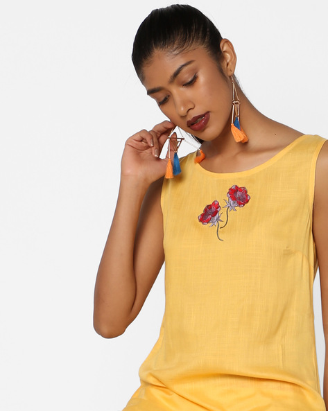 Sleeveless High-Low Kurta With Palazzo Pants By AJIO ( Yellow )