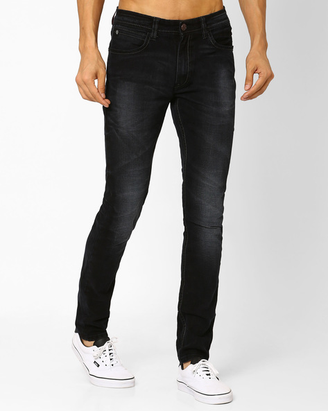 Lightly Washed Slim Fit Jeans By Locomotive ( Black )