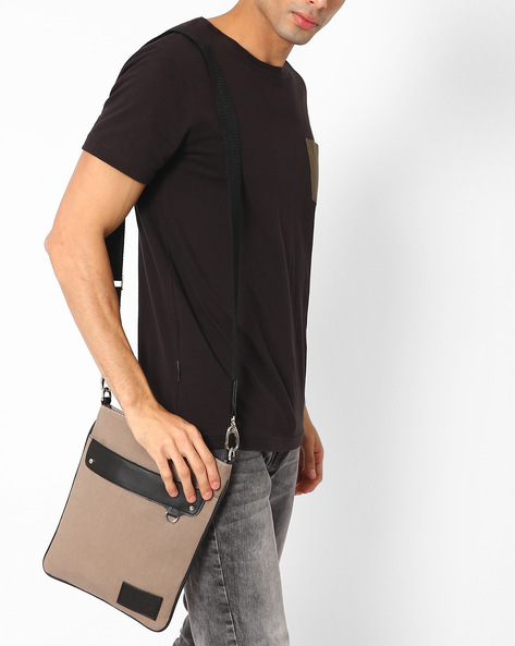 Messenger Bag With Front Flap By FAMOZI ( Grey )