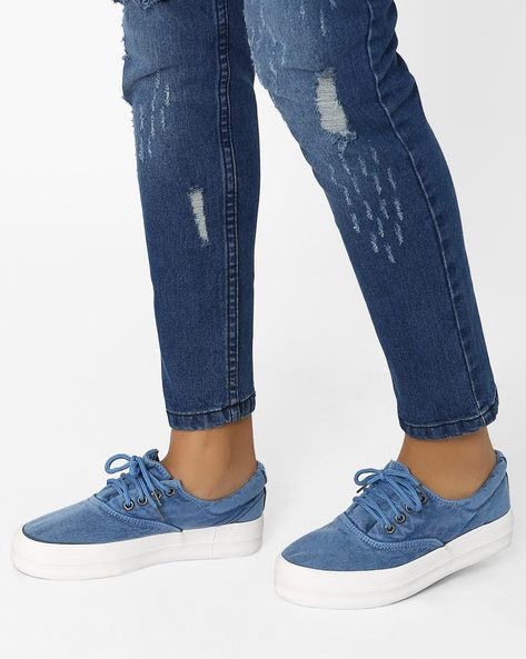 Lace-Up Platform Sneakers By MFT Couture ( Blue )