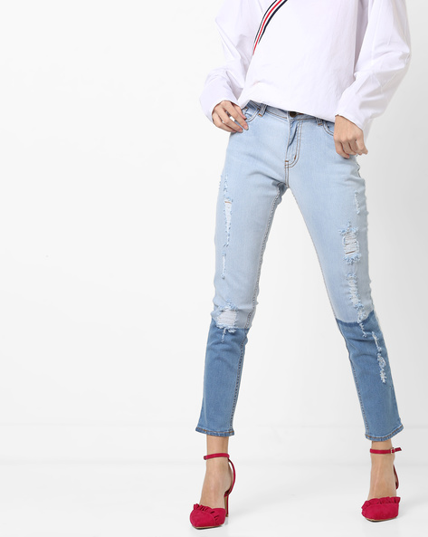 Mid-Rise Panelled Distressed Jeans By AJIO ( Lightblue )
