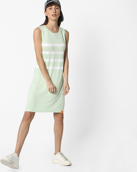 Typographic Print Sleeveless T-shirt Dress By Teamspirit ( Green )
