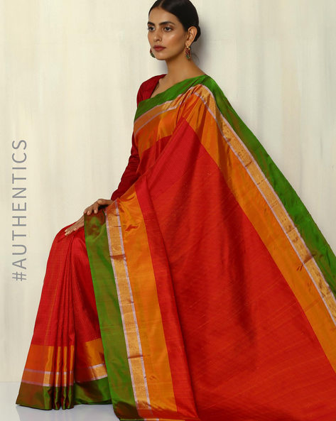 Handloom Tanka Stripe Pure Silk Saree By Pretty Woman ( Red )