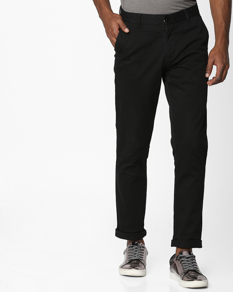 Mid-Rise Flat-Front Chinos By British Club ( Black )