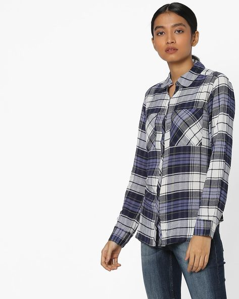 Checked Shirt With Patch Pockets By Ginger By Lifestyle ( Blue )