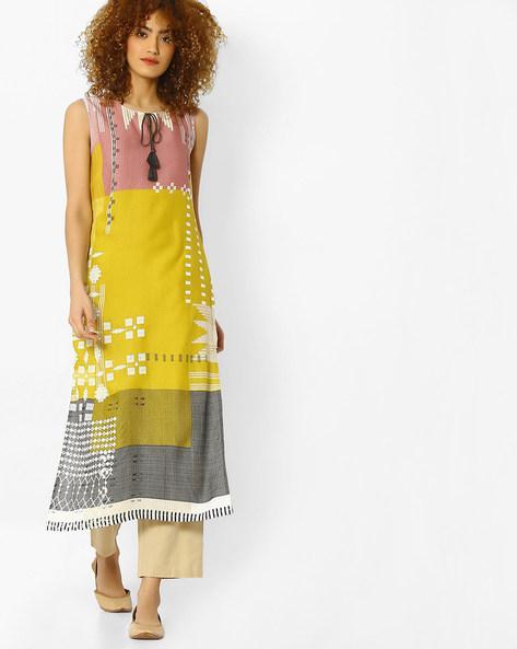 Sleeveless Colourblock Kurta With Tassel Tie-Up By W ( Yellow )