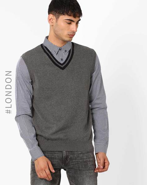 Layered Jumper With Button-Down Collar By Marks & Spencer ( Grey )