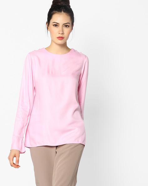 Classic Top With Bell Sleeves By AJIO ( Peach )