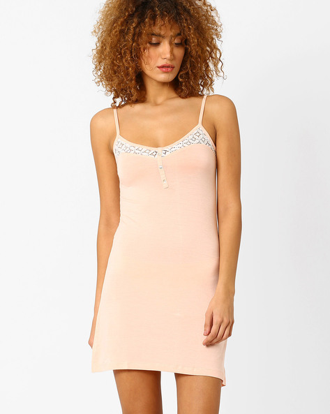 Babydoll Nightdress With Lace Detail By Slumber Jill ( Peach )