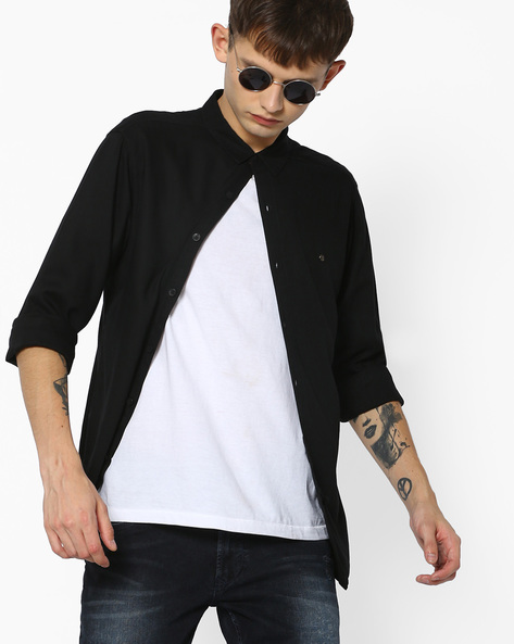 Slim Fit Cotton Shirt By SPYKAR ( Black )