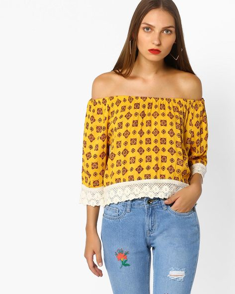 Printed Off-Shoulder Top By AJIO ( Yellow )