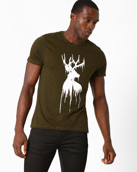 Graphic Print Crew-Neck T-shirt By AJIO ( Olive )
