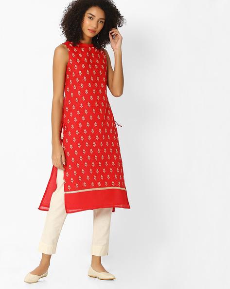 Printed Kurta With Pant Set By AVAASA SET ( Red )