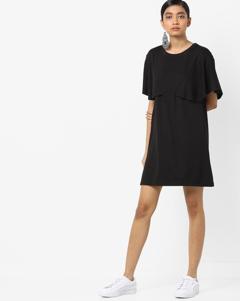 Shift Dress With Flared Sleeves By AJIO ( Black )