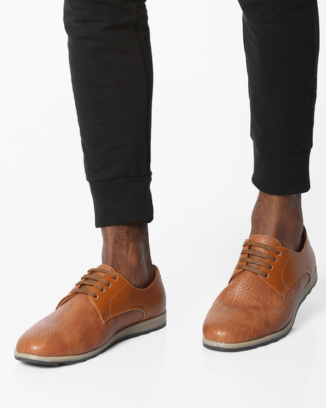 N9-Treated Lace-Up Casual Shoes By AJIO ( Tan )