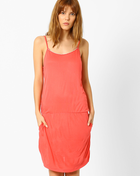 Strappy Nightdress With Pockets By Slumber Jill ( Red )