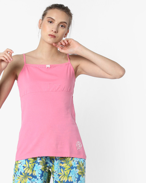 Camisole Top With Adjustable Straps By Enamor ( Pink )