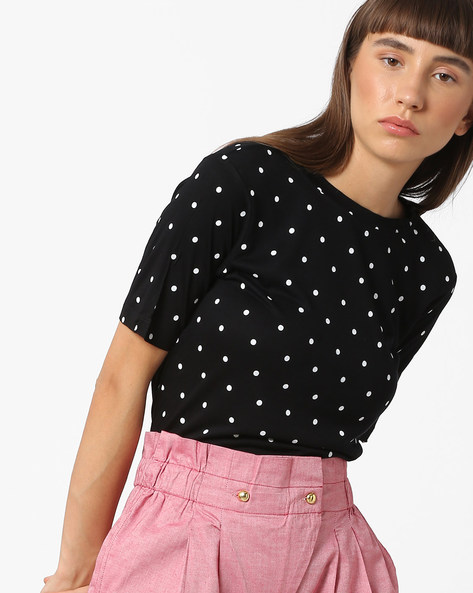 Polka-Dot Top With Tie-Up By BOSSINI ( Black )