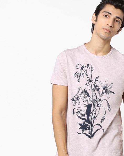 Floral Print Crew-Neck T-shirt By AJIO ( Lightpink )