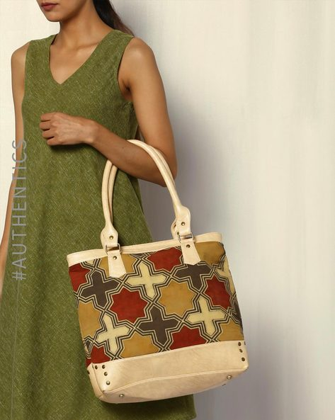Handblock Print Ajrak Vegan Leather Tote Bag By A BIG INDIAN STORY ( Tan )
