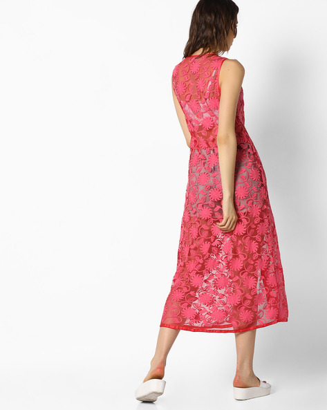 Sleeveless Longline Jacket With Floral Embroidery By AJIO ( Coral )