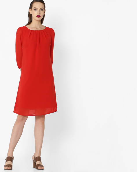 Shift Dress With Curved Hemline By Project Eve WW Evening ( Orange )