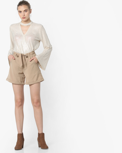 Mid-Rise Shorts With Upturned Hems By Project Eve WW Casual ( Beige )