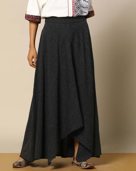 Handloom Cotton Striped High-Low Skirt By Pilgrim ( Black )
