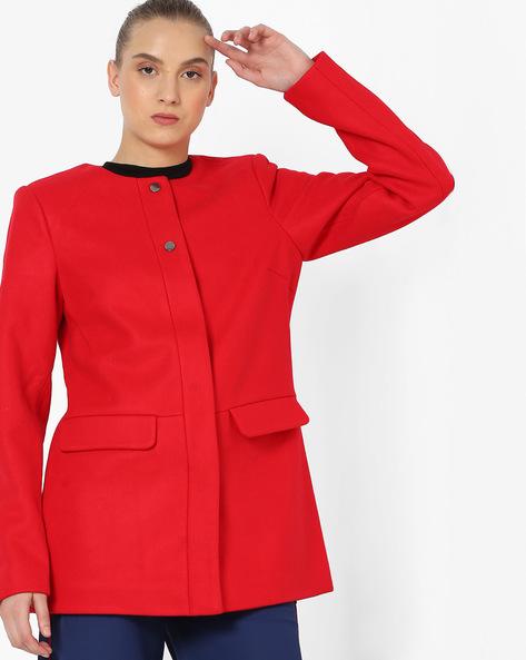 Round-Neck A-line Jacket By Vero Moda ( Tomatored )