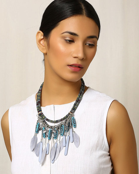 Beaded Statement Necklace By Indie Picks ( Grey )
