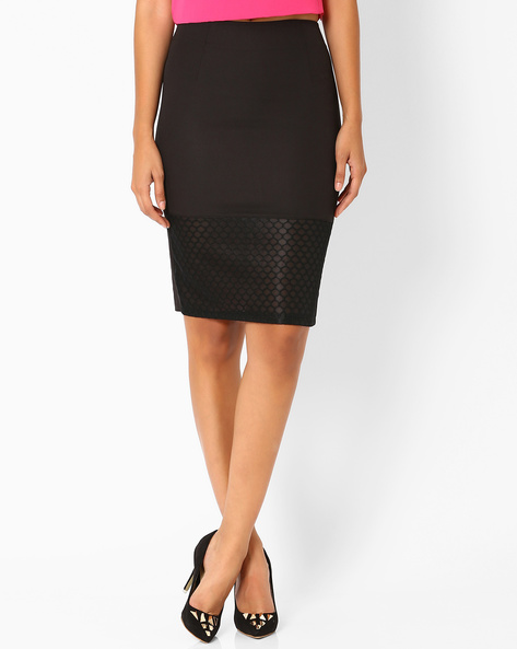 Pencil Skirt With Mesh Panel By AJIO ( Black )