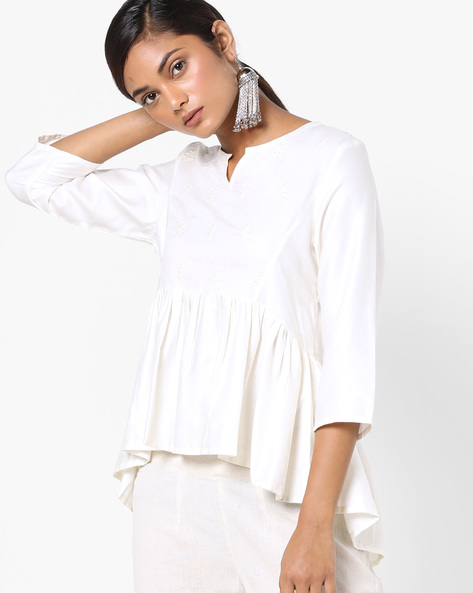 Peplum Top With Embroidery By AJIO ( Offwhite )