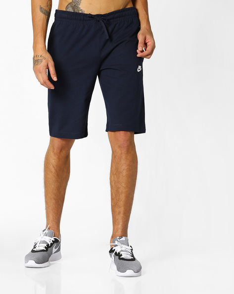 Mid-Rise Shorts With Drawstring Fastening By NIKE ( Blue )