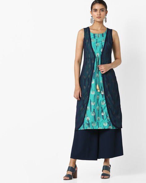 Printed Sleeveless Kurta With Tassel Tie-Up By Rangmanch By Pantaloons ( Blue )