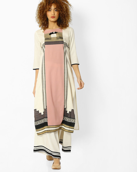 Geometric Print Kurta With Tassels By W ( Offwhite )