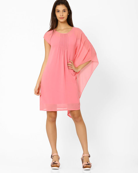 Shift Dress With Pintucks By And ( Blush )
